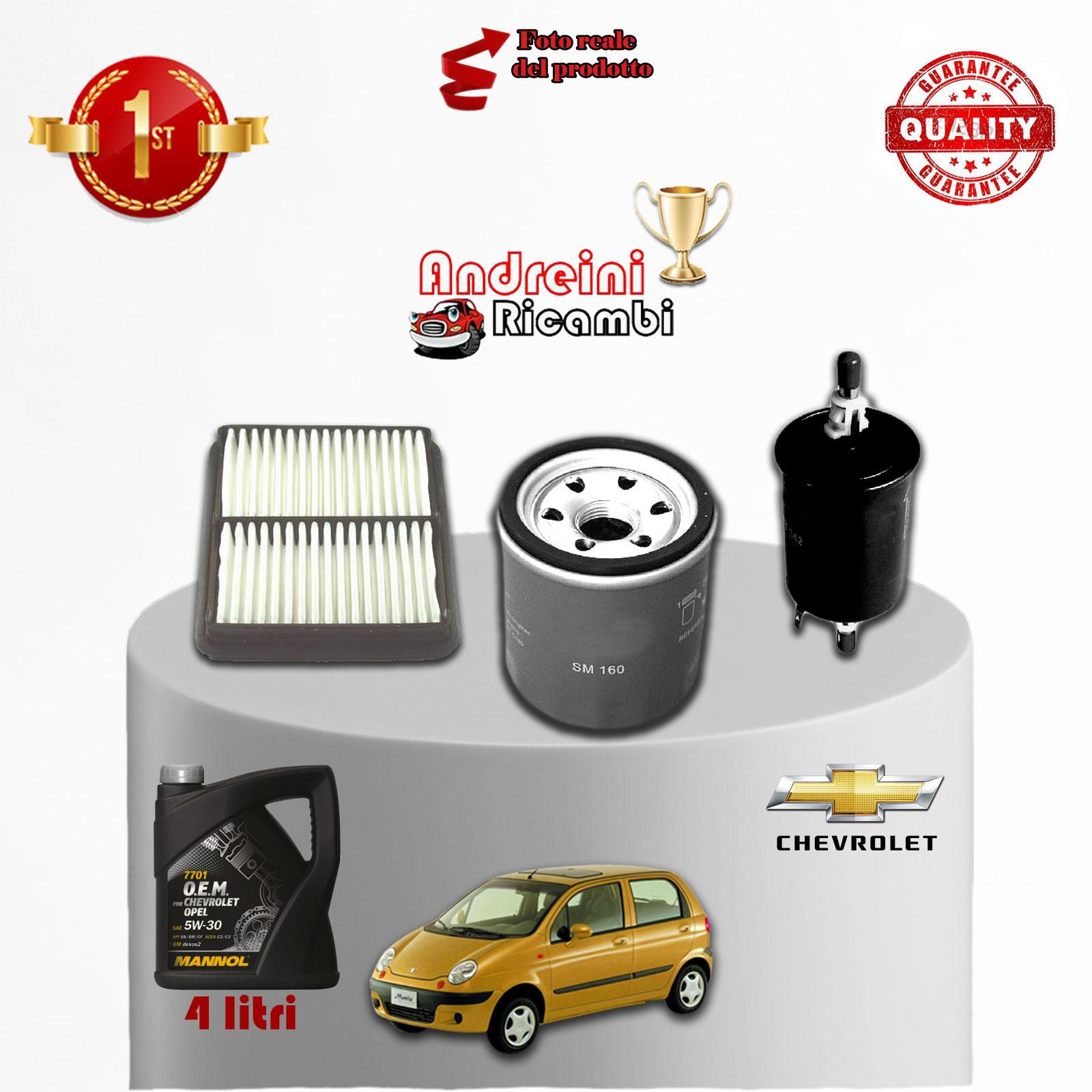 Kit tagliando filtri olio chevrolet matiz 1 0 47kw 64cv for Filtro aria abitacolo valanghe 2004 chevy
